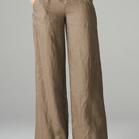 DOUBLE BUTTON LINEN PANTS WITH DRAWSTRING TIE AT WAIST AND AT LEG