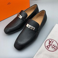Hermes Men's 2021 NEW ARRIVALS Business Casual Leather Shoes
