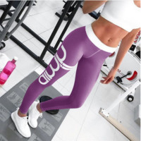 Women Activewear sexy cut exercise Leggings fall light gray pink pants waist fashion printing leggings Slim pants Purple