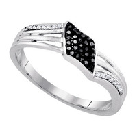 Diamond Fashion Ring in White Gold-plated silver 0.1 ctw