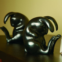SPI Solid Brass Napping Rabbit Bookends for Home Decor