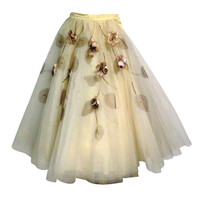 50s Full Tulle Skirt with Silk Flower and Leaf Applique
