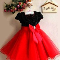"""Free Ship"" Red- Black Kids Holiday Party Dress"