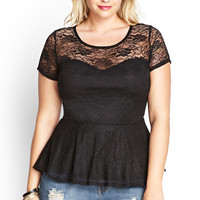 Knotted Lace Peplum Top