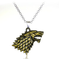Game of Thrones House Stark Gold Pendant Necklace
