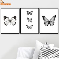 COLORFULBOY Wall Art Print Canvas Painting Black White Butterfly Nordic Poster Canvas Art Animal Wall Pictures For Living Room