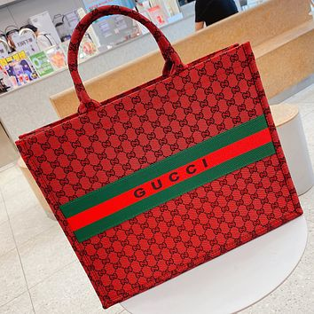 GUCCI GG canvas embroidered letters ladies shopping handbag