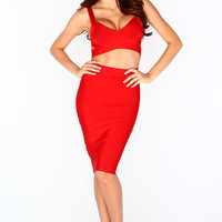 """The """"Cleopatra"""" Bandage Two Piece - Red 