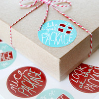 Funny Christmas Packaging Stickers - Red and Turquoise - Nice Package