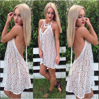 White Crochet Lace Spaghetti Strap Backless Mini Dress