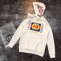 ONETOW Gucci Flowers Embroidery Top Pullover Sweater Sweatshirt Hoodie