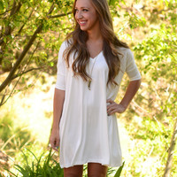 Short Sleeve Piko Dress - Ivory