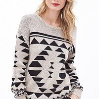 LOVE 21 Speckled Geo-Patterned Sweater Oatmeal/Black