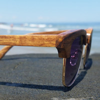 Wood Sunglasses - Rosewood Wooden Clubmaster Style Sunglasses - THE KENNEDY