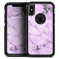 Purple Marble & Digital Silver Foil V4 - Skin Kit for the iPhone OtterBox Cases