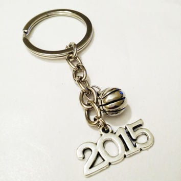 Basketball Key Chain / Graduation Gift For Him / Basketball Keychain / Class Of 2015 Graduation Key Chain / Graduation Favor / Gift For Her