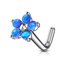 WildKlass Flower with 5 Opal Petals 316L Surgical Steel L Bend Nose Stud Rings