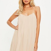 Missguided - Nude Strappy Pleated Sundress