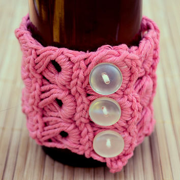 Stylish Victorian Inspired Crocheted Bracelet in Hand-Dyed Cherry Pink Cotton