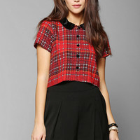 Motel Andy Plaid Cropped Blouse - Urban Outfitters