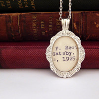 Library card catalog jewelry, Great Gatsby book jewelry, book lovers gift, 1920s style, literary necklace, silver Gatsby necklace