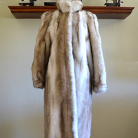Vintage Faux Fur Coat, Full Length with High Collar, Adolph Schuman for Lilli Ann, Made in England, 1970s to 1980s