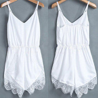Women's Sleeveless White Lace Chiffon Jumpsuit Romper
