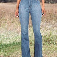 New Light Blue Pockets High Waisted Mom Flare Vintage Bell Bottom Long Flare Jeans