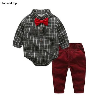 Baby Boy Clothes born Clothing Sets Broadcloth Cotton Gentleman Plaid Rompers + Jeans