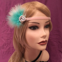 20's Flapper Headpiece Soft Pink Turquoise green Gold Pearl Headband 1920's style gatsby Head Band Art Deco Rhinestone 20s Adjustable (661)