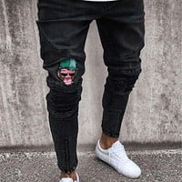 Fashion Men Casual Slim pants Men brand embroidery jeans Straight High Stretch Feet skinny jeans men's black trousers homme