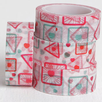 Square and Triangle Heart Washi Tape, 15mm x 5m