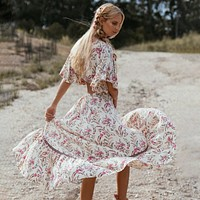 Floral Print Dress Boho Chic Dresses Gown High-Low Hem Hippie Beach Dress Women Clothes New Female Vestidos
