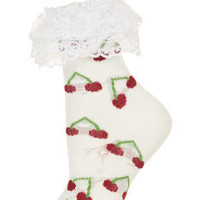 **CHERRY FRILL ANKLE SOCKS BY MEADHAM KIRCHHOFF
