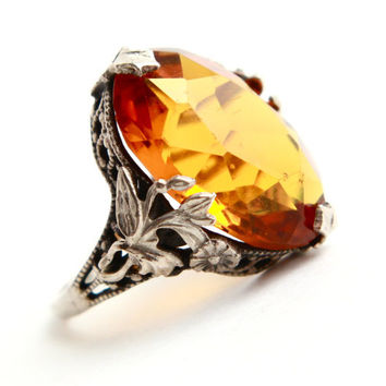 Antique Sterling Silver Filigree Ring - Art Deco 1920s Size 4 1/2 Amber Stone Great Gatsby Art Nouveau Jewelry / Golden Orange Yellow Glow
