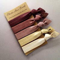 The Chocolate Ombre Hair Tie Collection - 5 Elastic Hair Ties by Elastic Hair Bandz on Etsy