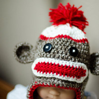 $23.00 Sock monkey earflap hat  made to order by FloraAndFinn on Etsy