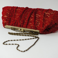 Beautiful,Vintage Inspired Romantic Red Rose Lace Clutch - Evening Purse or Handbag - or Bridal or Bridesmaid Clutch
