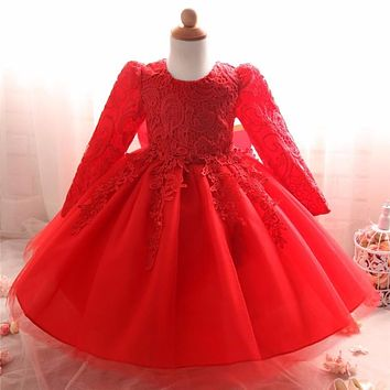 Winter Baby Girl Clothes Beautiful Lace Christening Gown Dresses for Girls Children's Clothing Christmas Kids Party Costume
