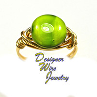 DWJ0371 Fabulous Czech Glass Margarita Coin Gold Wire Wrap Ring All Sizes