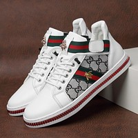 Gucci leather sneakers autumn and winter new warm cotton shoes all-match high-top plus cotton casual shoes men and women soft sole shoes