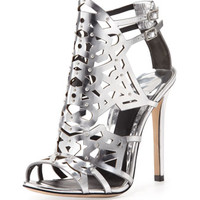 B Brian Atwood Laconica Mirrored Laser-Cut Cage Sandal, Silver