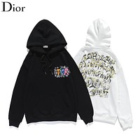 Dior autumn and winter jacket, spoof graffiti letters, hand-painted pattern printing, hoodie