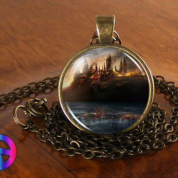 Handmade Harry Potter Hogwarts Castle 1 Fashion Glass Pendant Long Necklace Gift