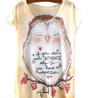 White Short Sleeve Owl Print T-Shirt