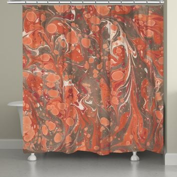 Persimmon Marble Shower Curtain