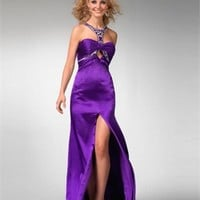 Formal purple with a jeweled halter neckline open back Prom Dress PD0528