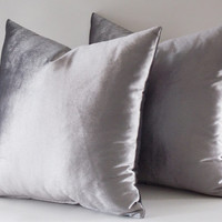 Set Of 2 / 18x18 Velvet Solid Silver Pillow Covers, Decorative Velvet Pillows, Throw Pillows