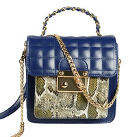 Dark Blue Snake Panel Quilted Chain Bag