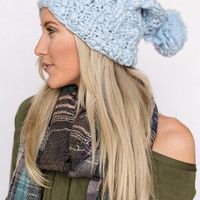 Chunky Knit Beanie In Powder Blue